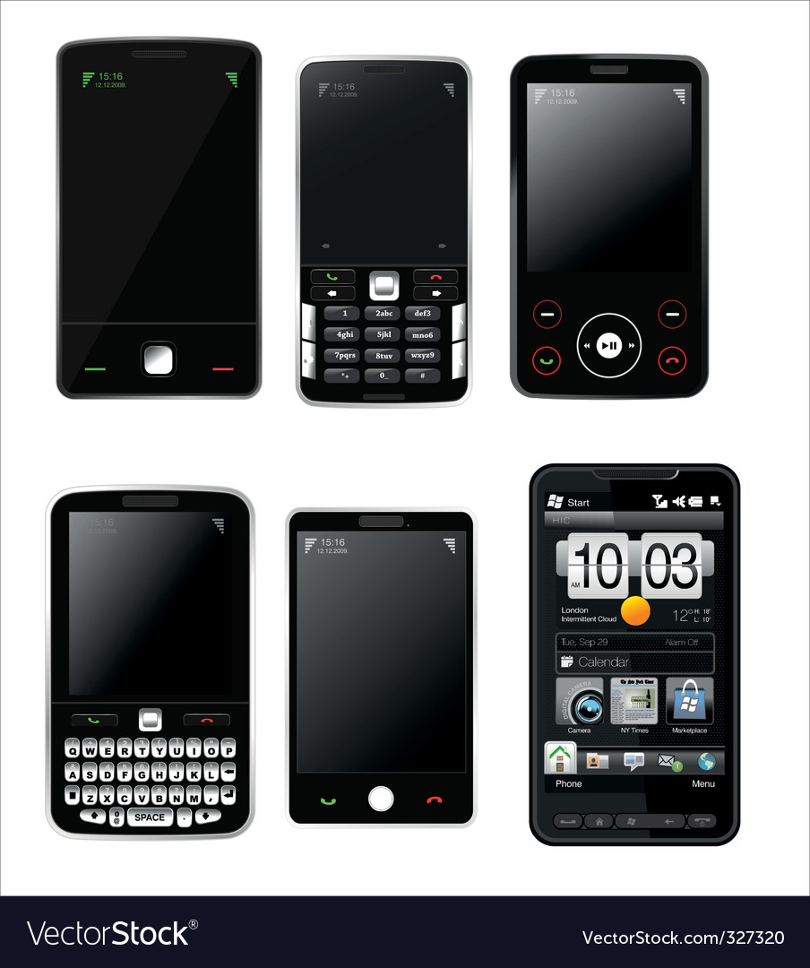 Mobile phones set vector image