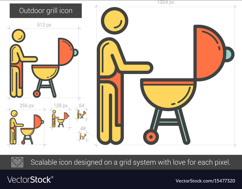Outdoor grill line icon