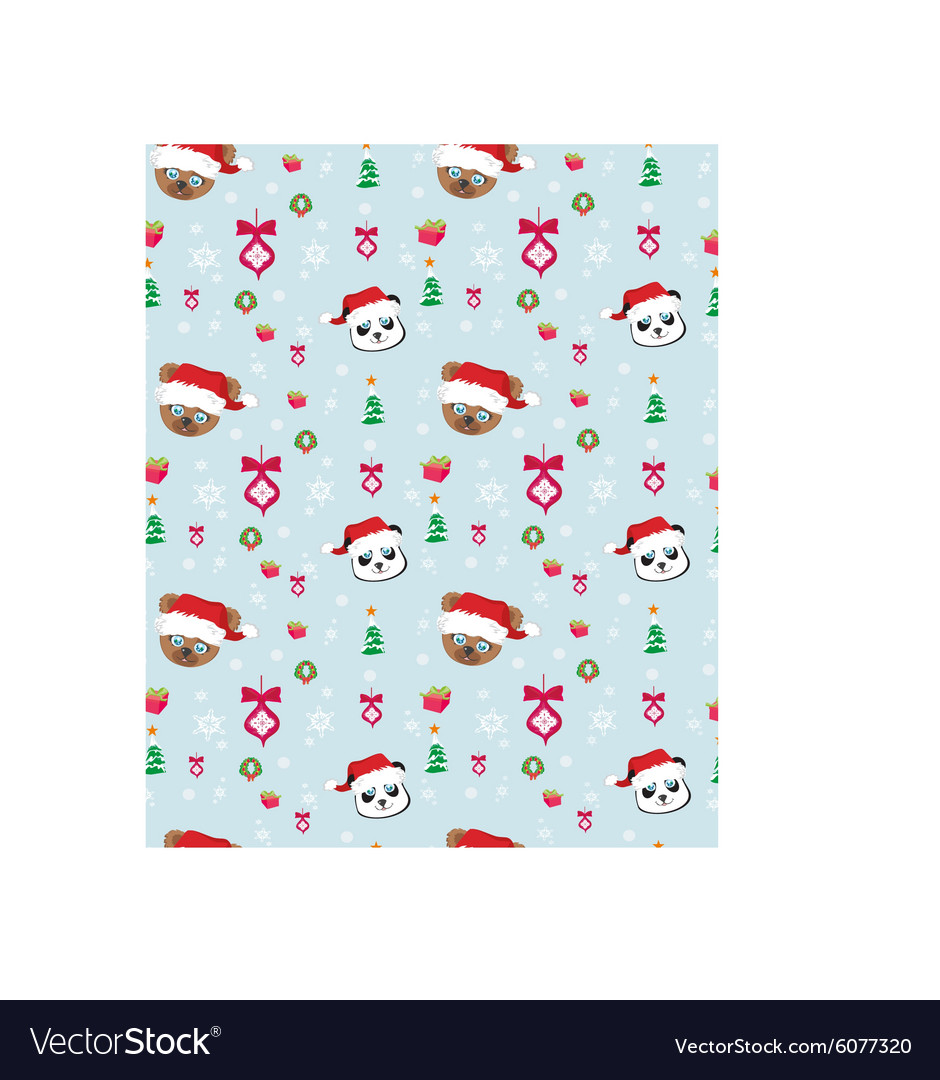 Seamless christmas pattern with teddy bears