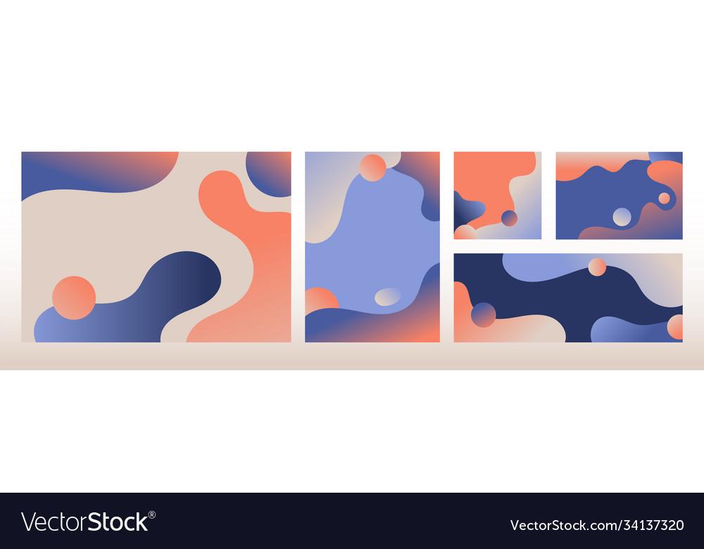 Set modern template design abstract liquid