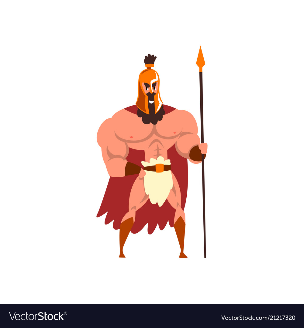 Spartan warrior in golden armor and red cape with