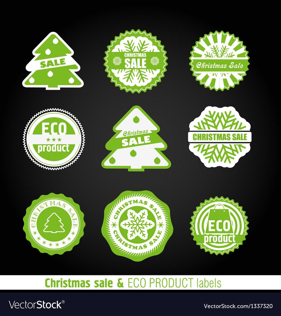 Winter labels set vector image