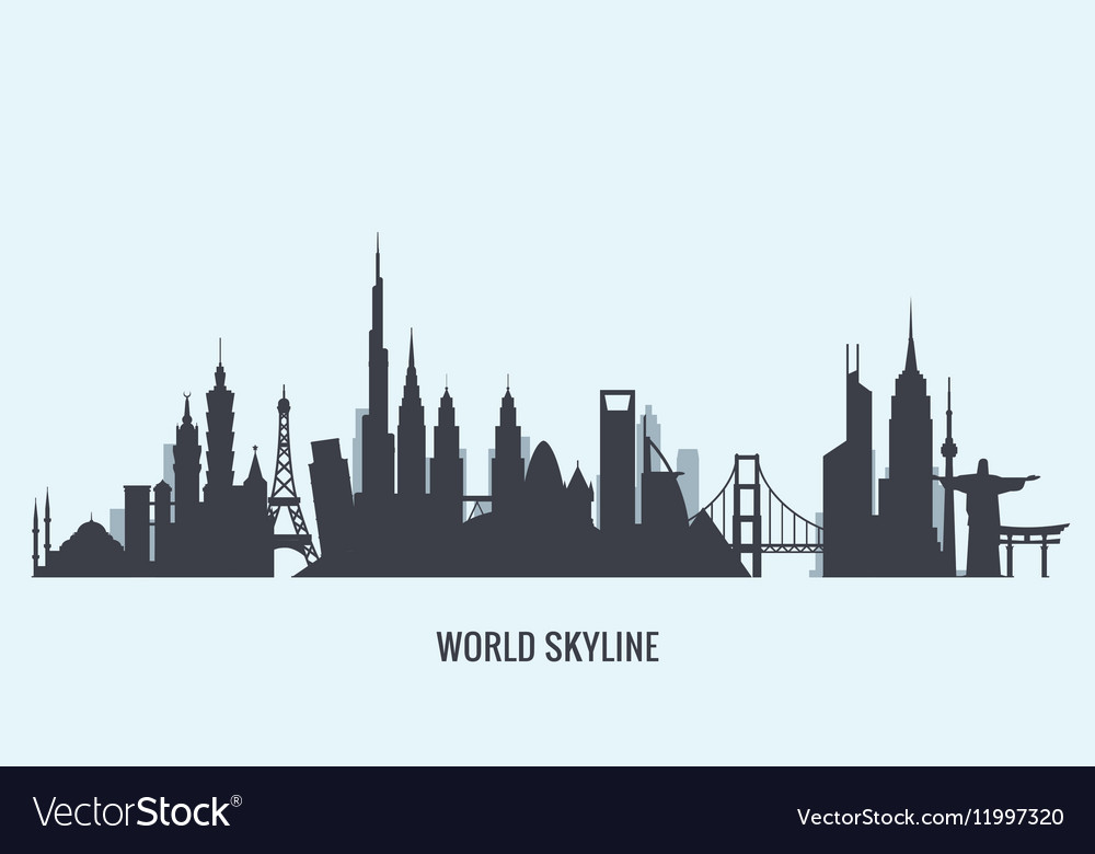 World skyline silhouette Travel and tourism vector image