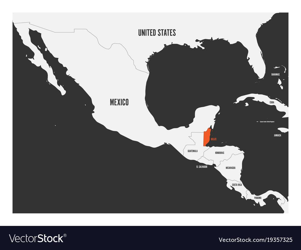 Political Map Of Belize.Belize Orange Marked In Political Map Of Central Vector Image