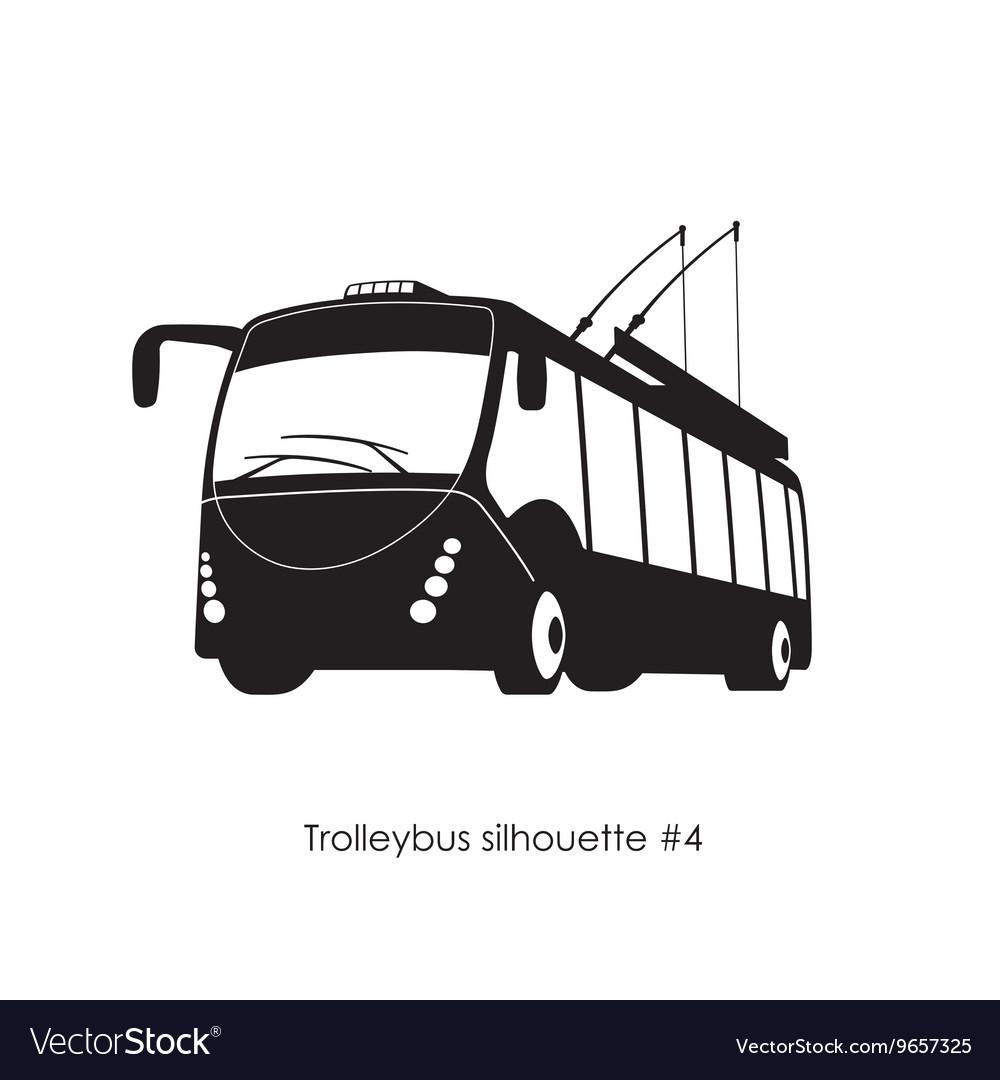 Black silhouette of trolley bus