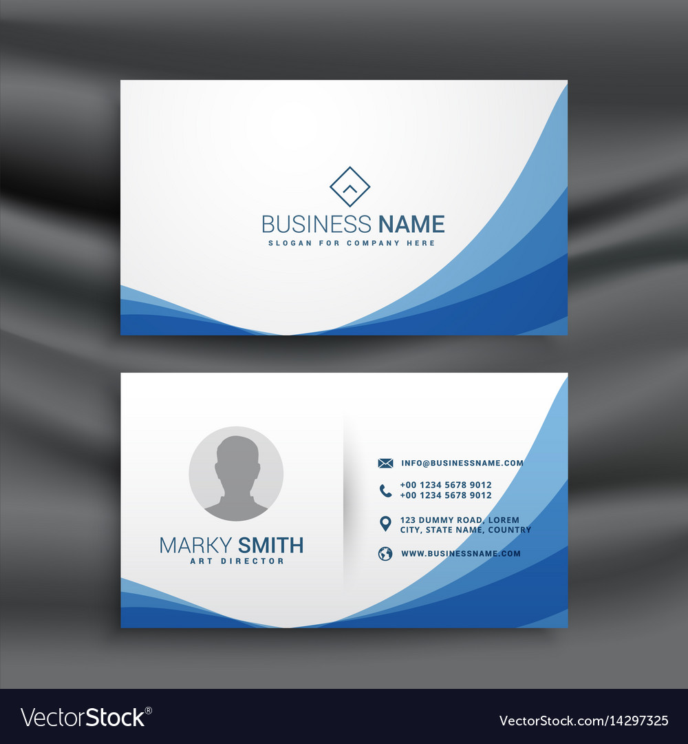 Blue wave simple business card design template Vector Image