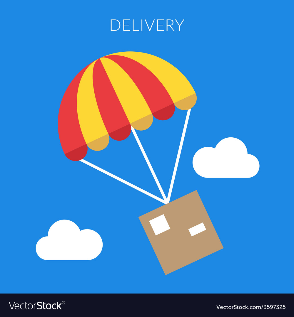 Delivery concept of a box and parachute in