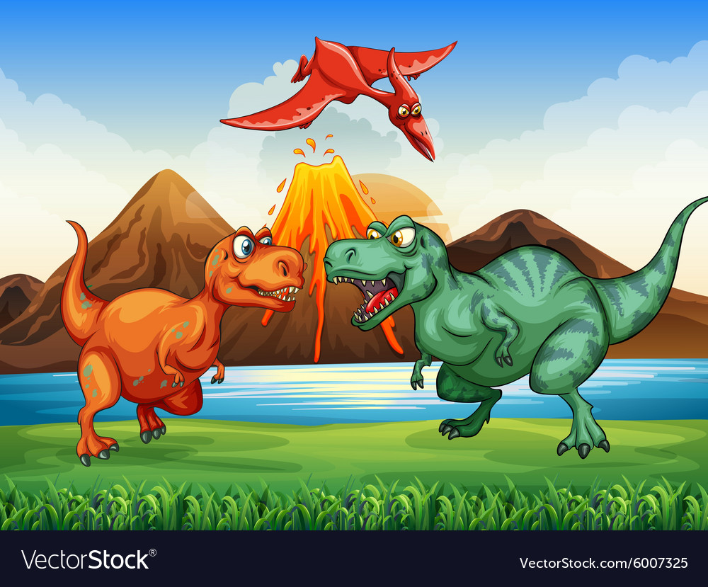 dinosaurs fighting in the field royalty free vector image