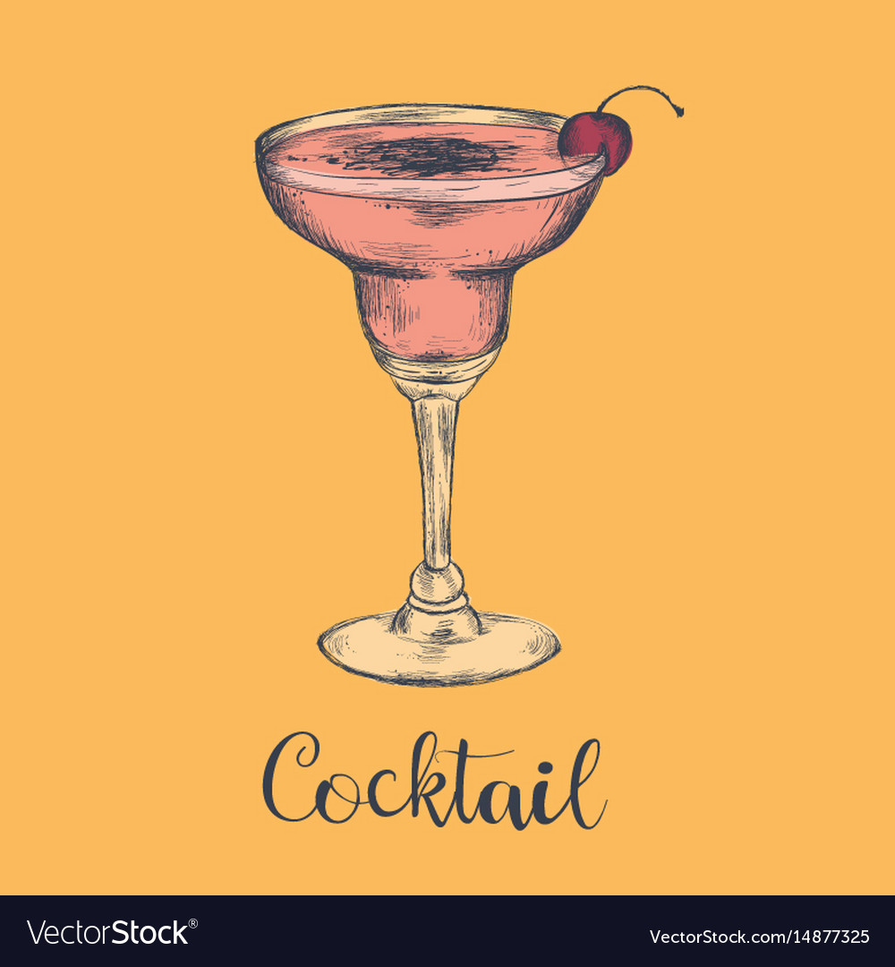 Exotic cocktail margarita cherry sketch cocktail