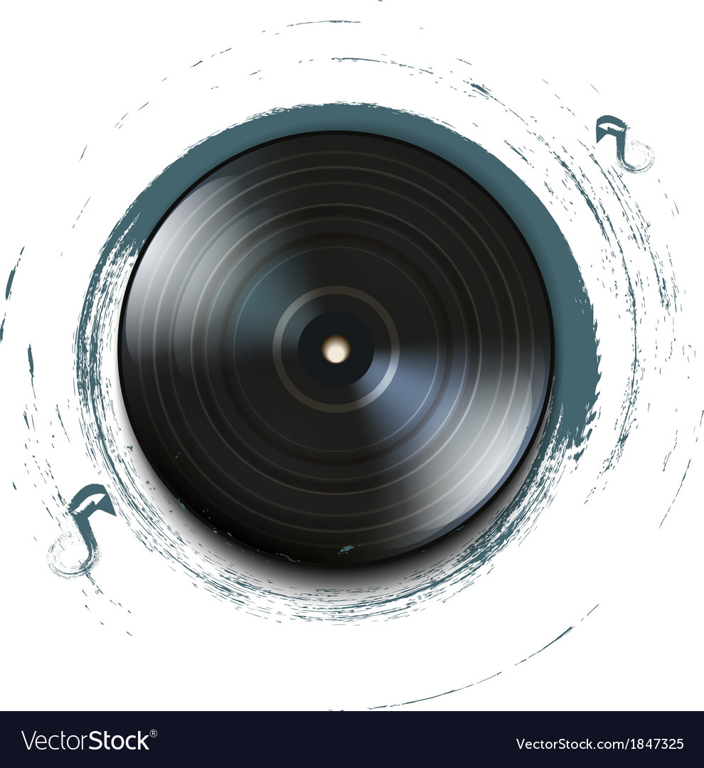 Grunge vynil record icon on background