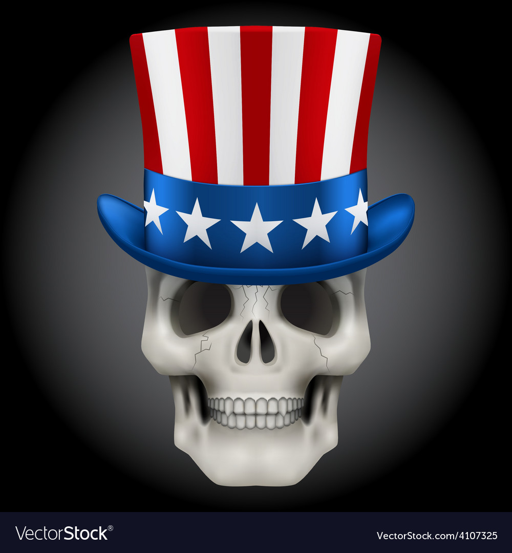 Human skull with Uncle Sam hat on head
