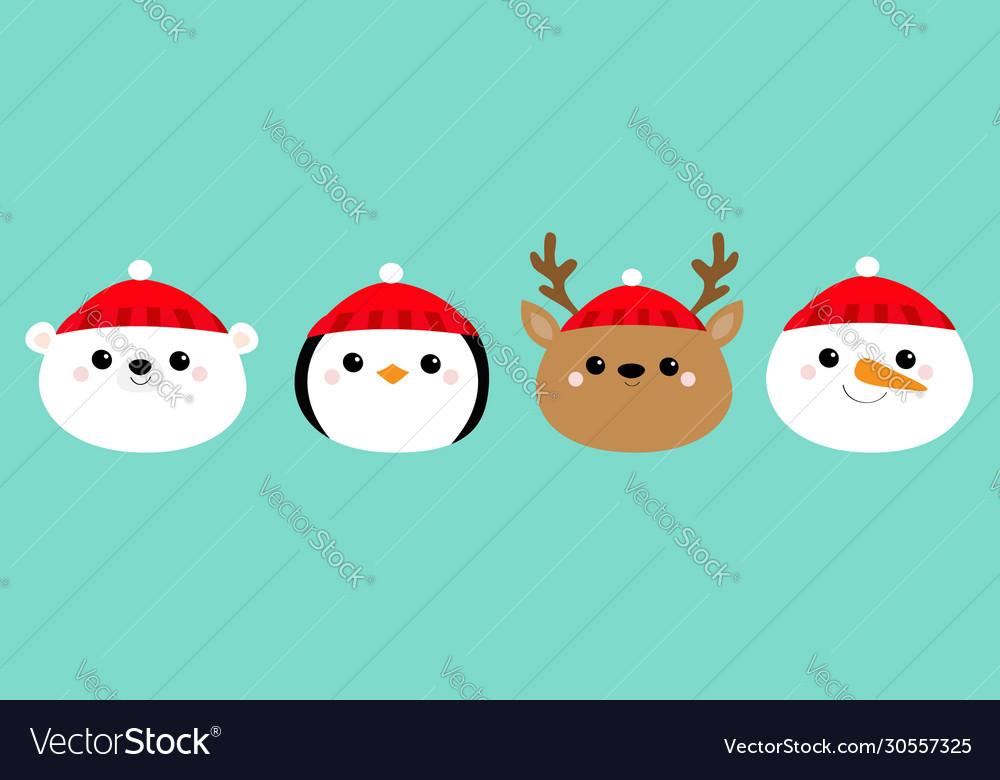 Merry year white polar bear penguin