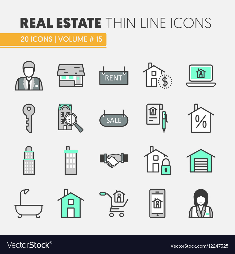 Real Estate Thin Line Icons Set