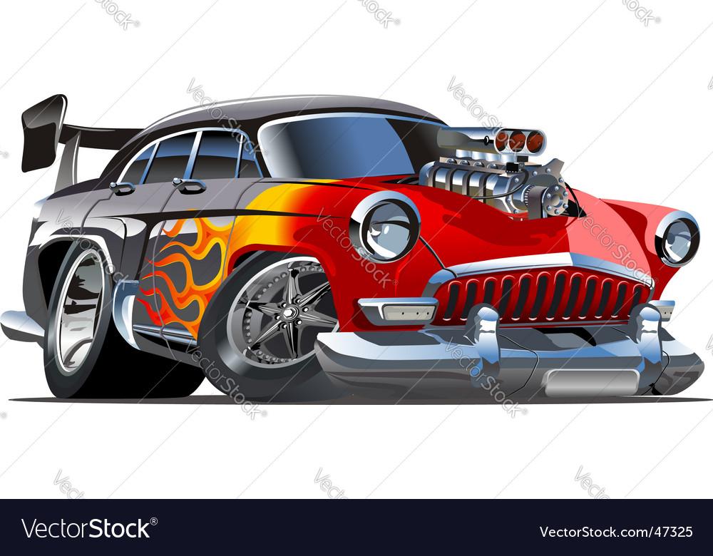 Retro cartoon hotrod vector image