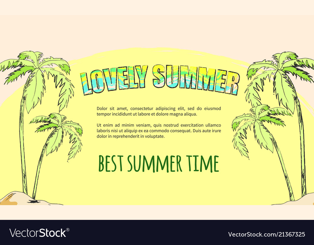 Summertime poster depicting island with palm trees
