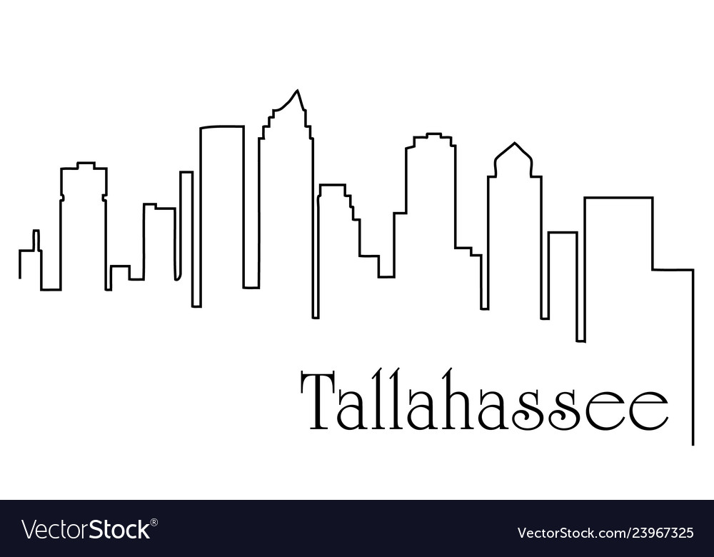 Tallahassee city one line drawing