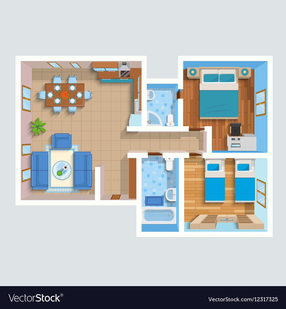 Top View Flat Interior Plan Royalty Free Vector Image
