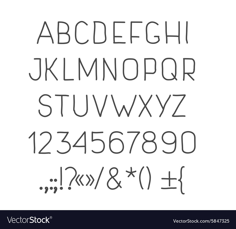 Type letters numbers and punctuation marks Hand vector image
