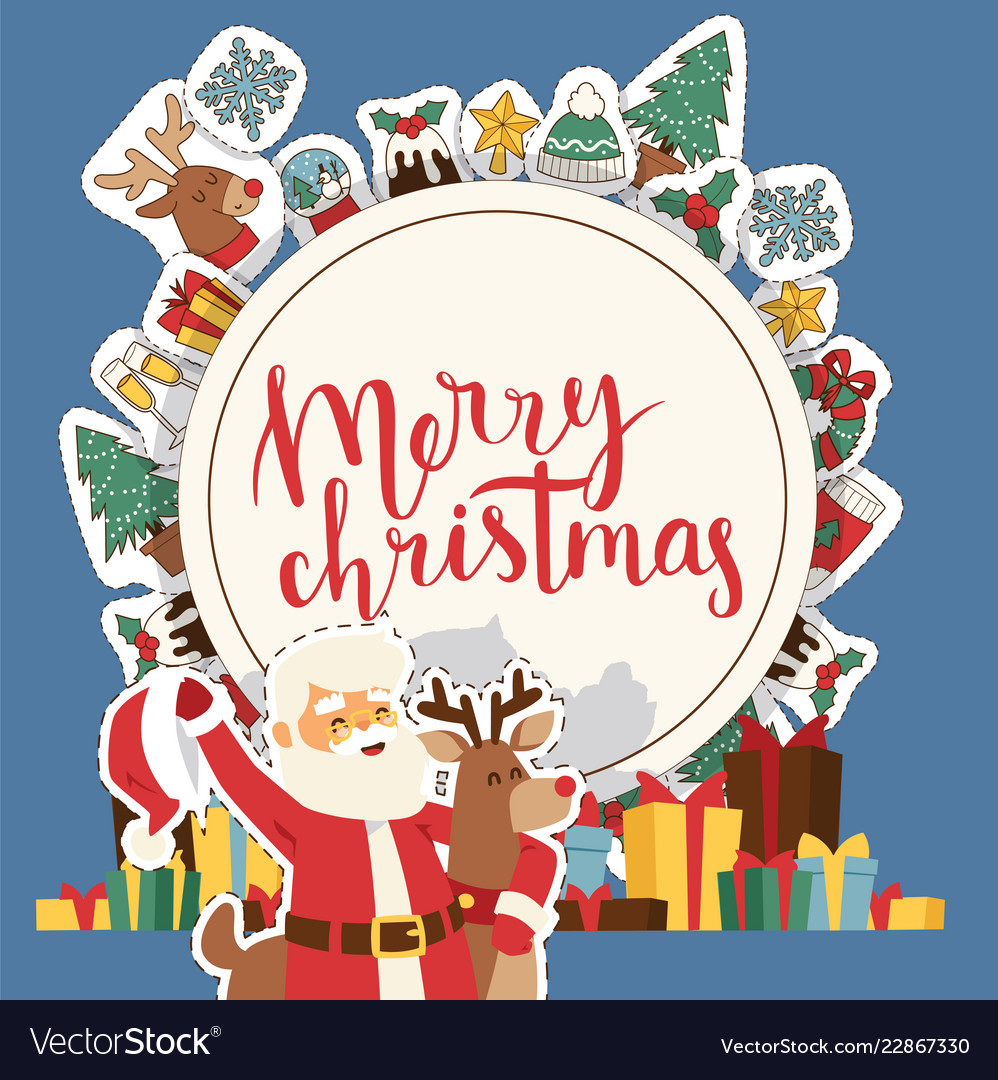 Christmas 2019 Happy New Year Greeting Card Santa