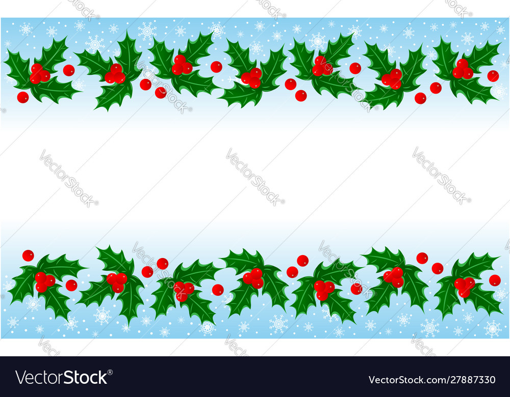 Christmas holly leaves decorative banner frame