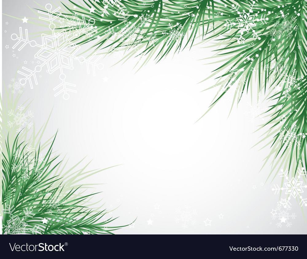 Christmas tree background snowflake vector image