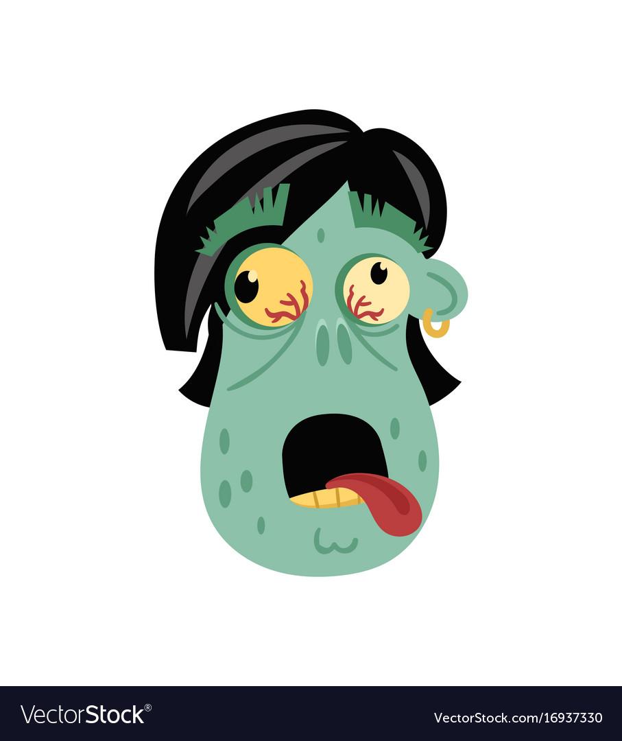 Comic zombie head icon in cartoon style