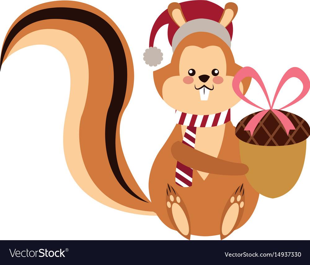 Cute squirrel with acorn christmas hat cartoon vector image
