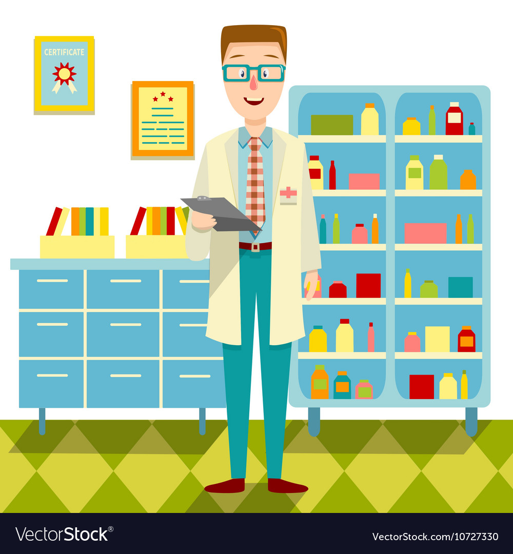 Doctor In His Office Flat Design