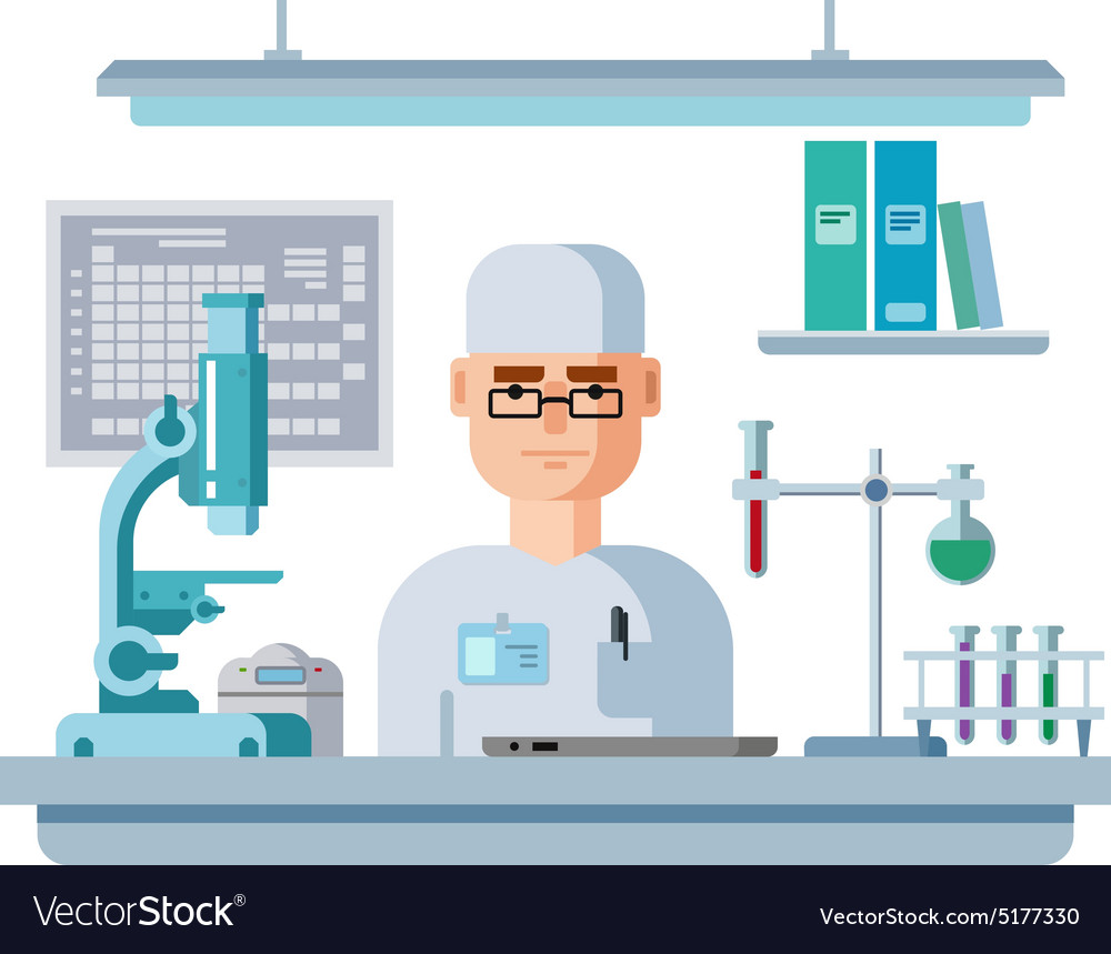 Doctor Sits in Laboratory Healthcare and Medical