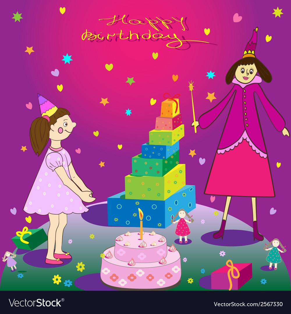 Tremendous Happy Birthday Gift Girl Cake And Fairy Royalty Free Vector Personalised Birthday Cards Beptaeletsinfo