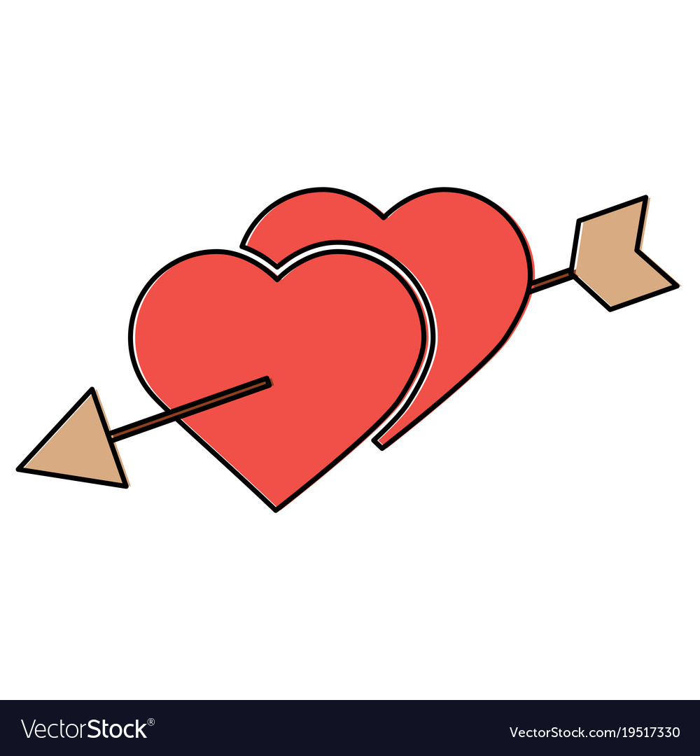 Heart And Arrow Valentines Day Icon Image Vector Image