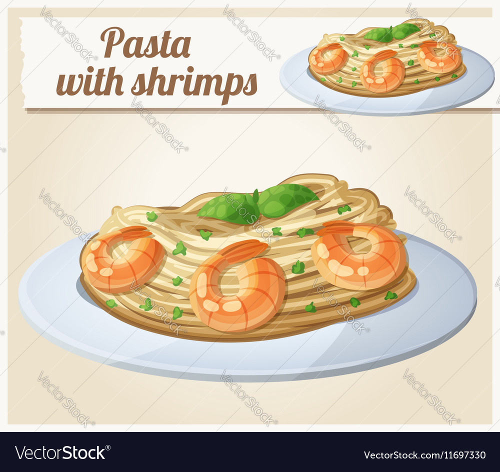 Pasta with shrimps Cartoon icon