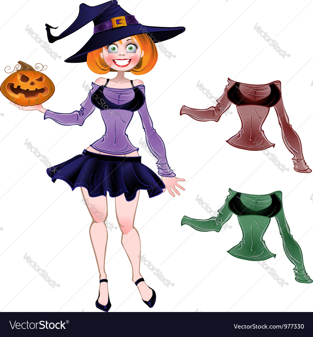 Pretty witch with pumpkin and set blouses
