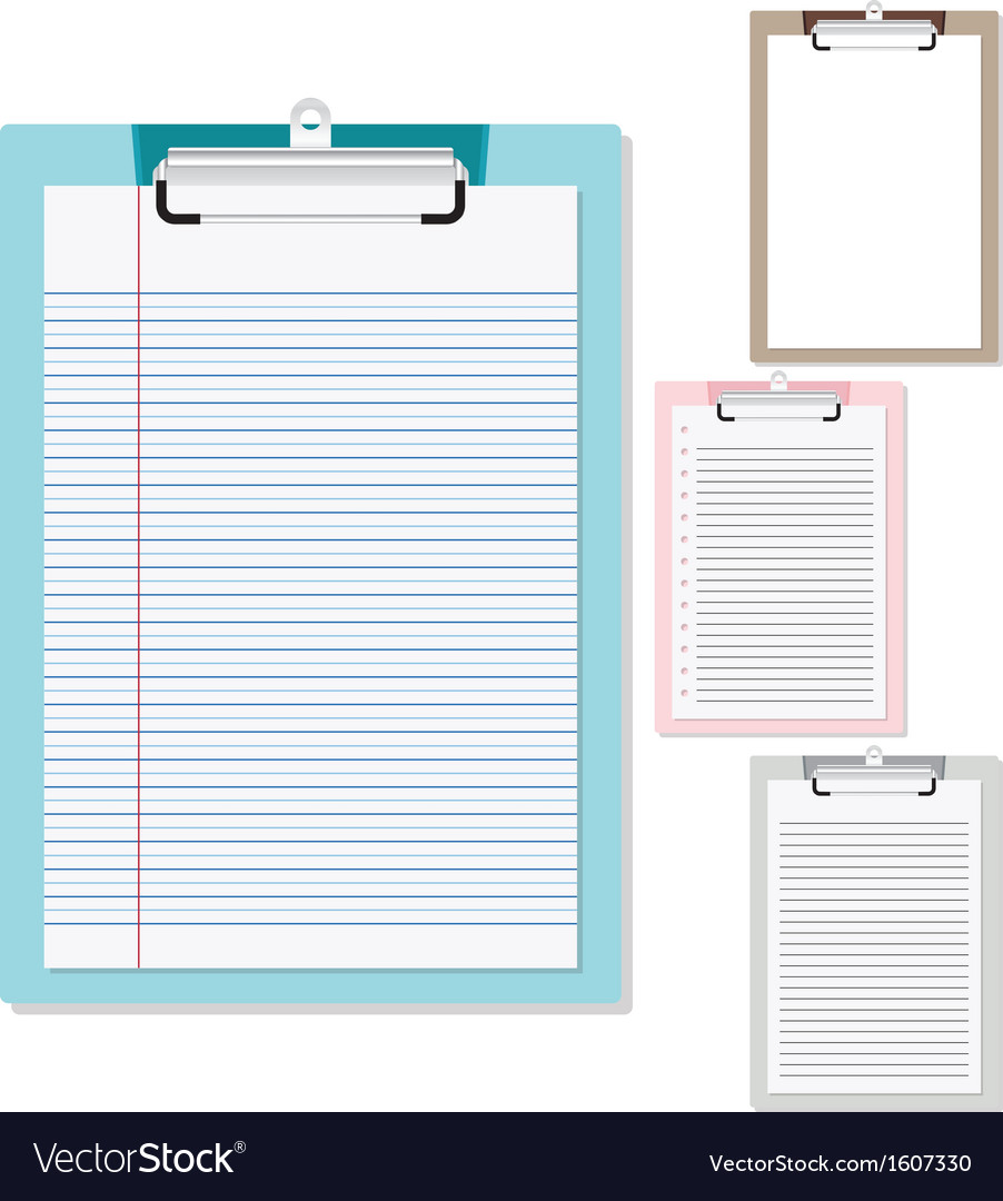 Set of plastic clipboard with paper