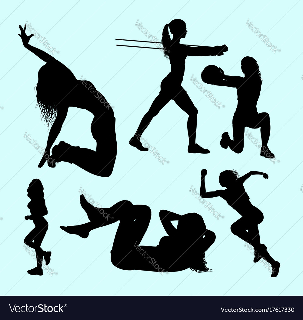 Sport girls activity silhouette
