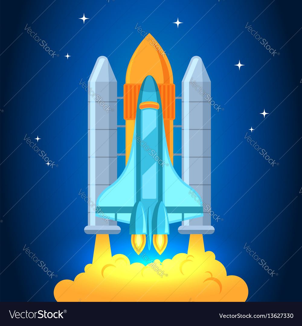 Startup rocket in the clouds flat