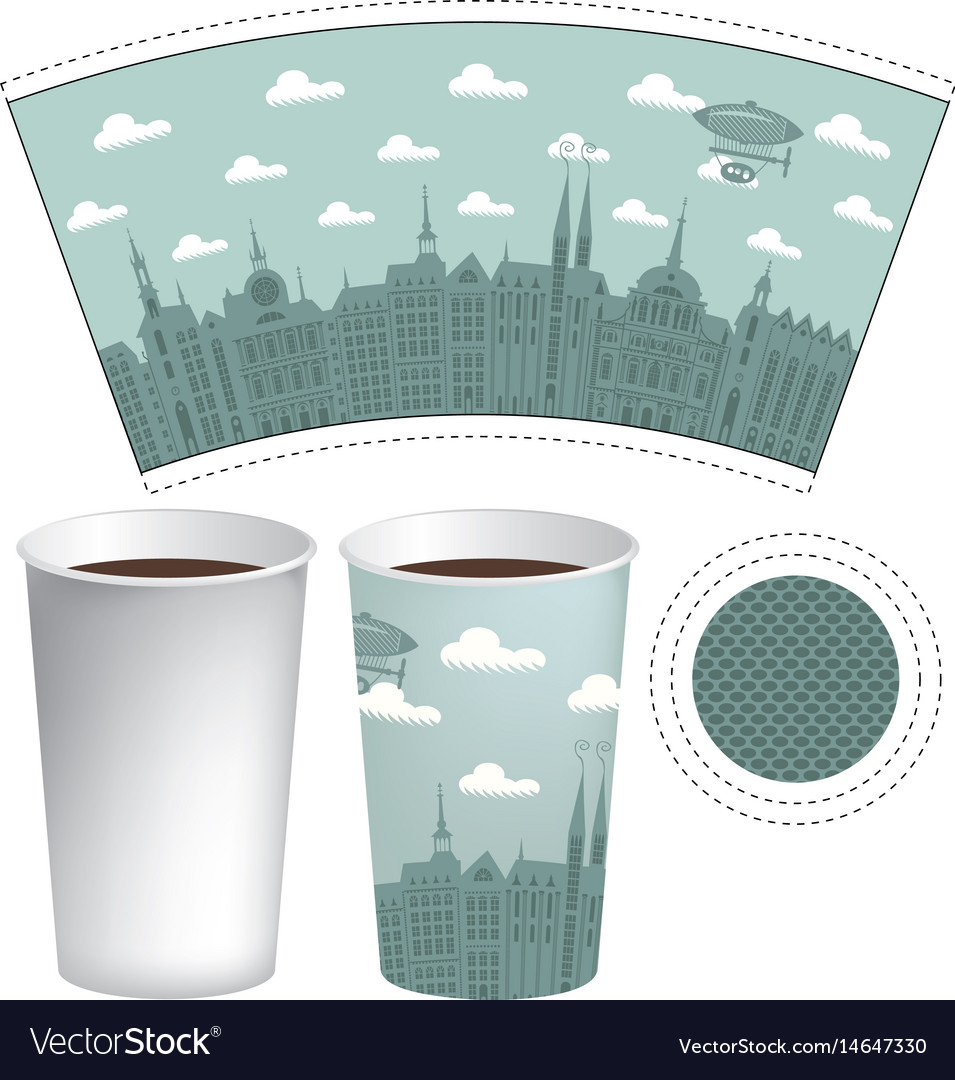 Template paper cup with the background of old town