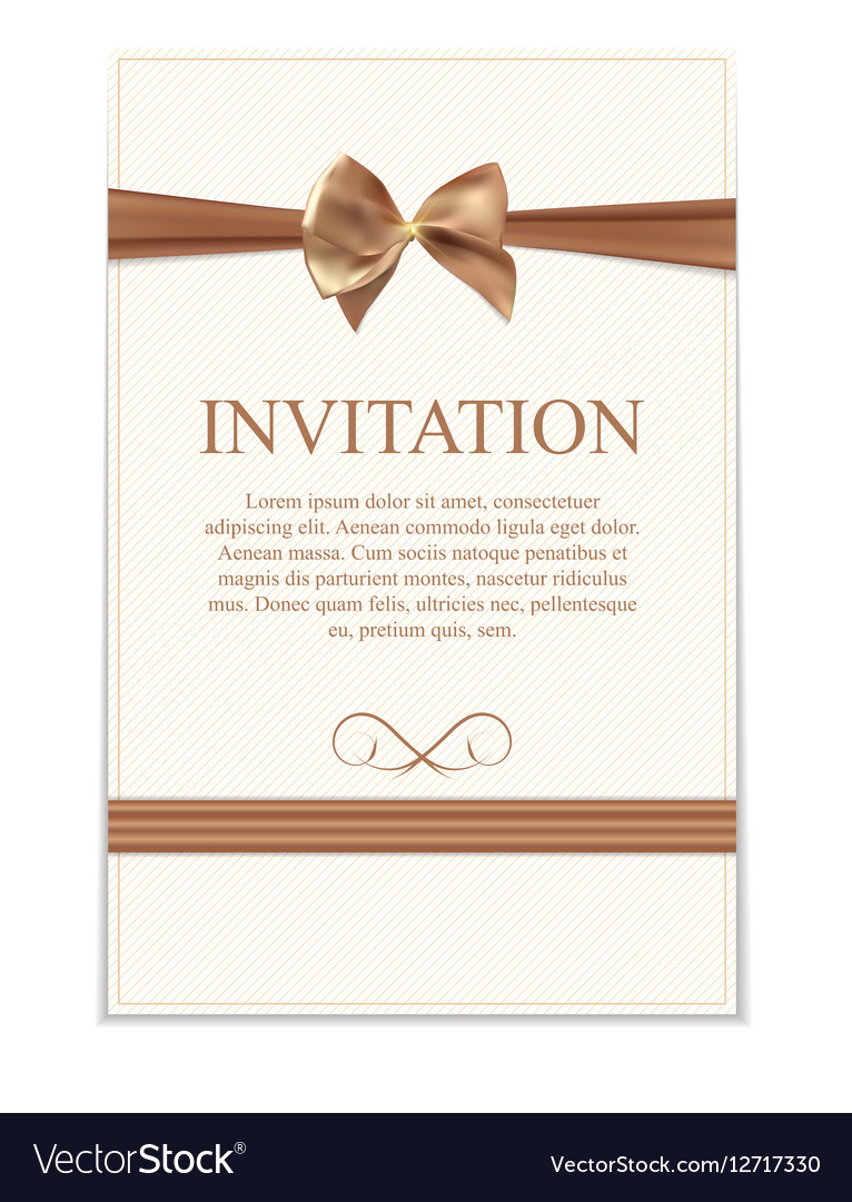 Vintage wedding invitation with bow and ribbon vector image stopboris Gallery