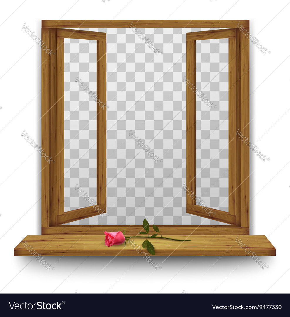 Wooden window with a red rose on the windowsill vector image