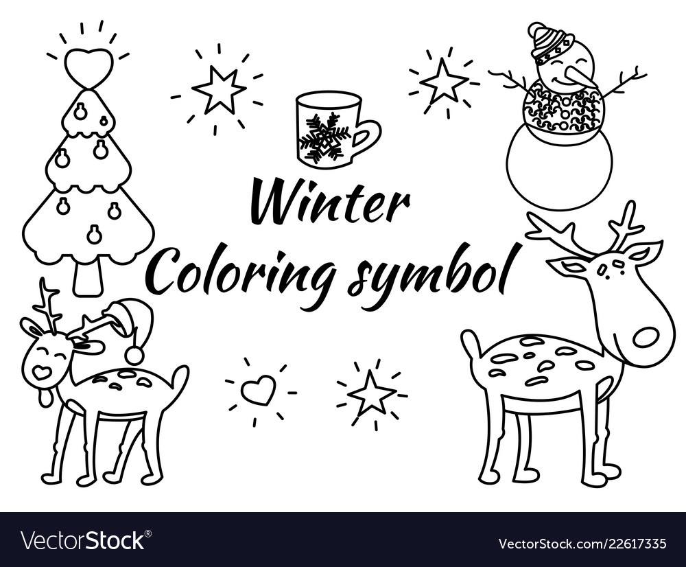 Christmas coloring elements in