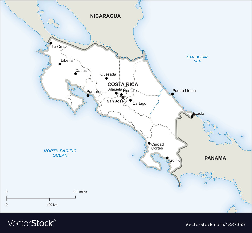 Costa Rica Political Map Royalty Free Vector Image