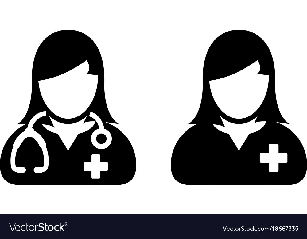 Doctor Icon Female Patient Medical Consultation Vector Image