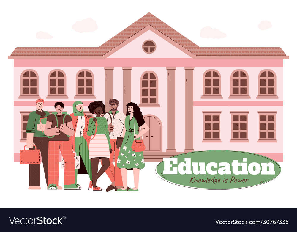 Education And Knowledge Banner With Students Vector Image