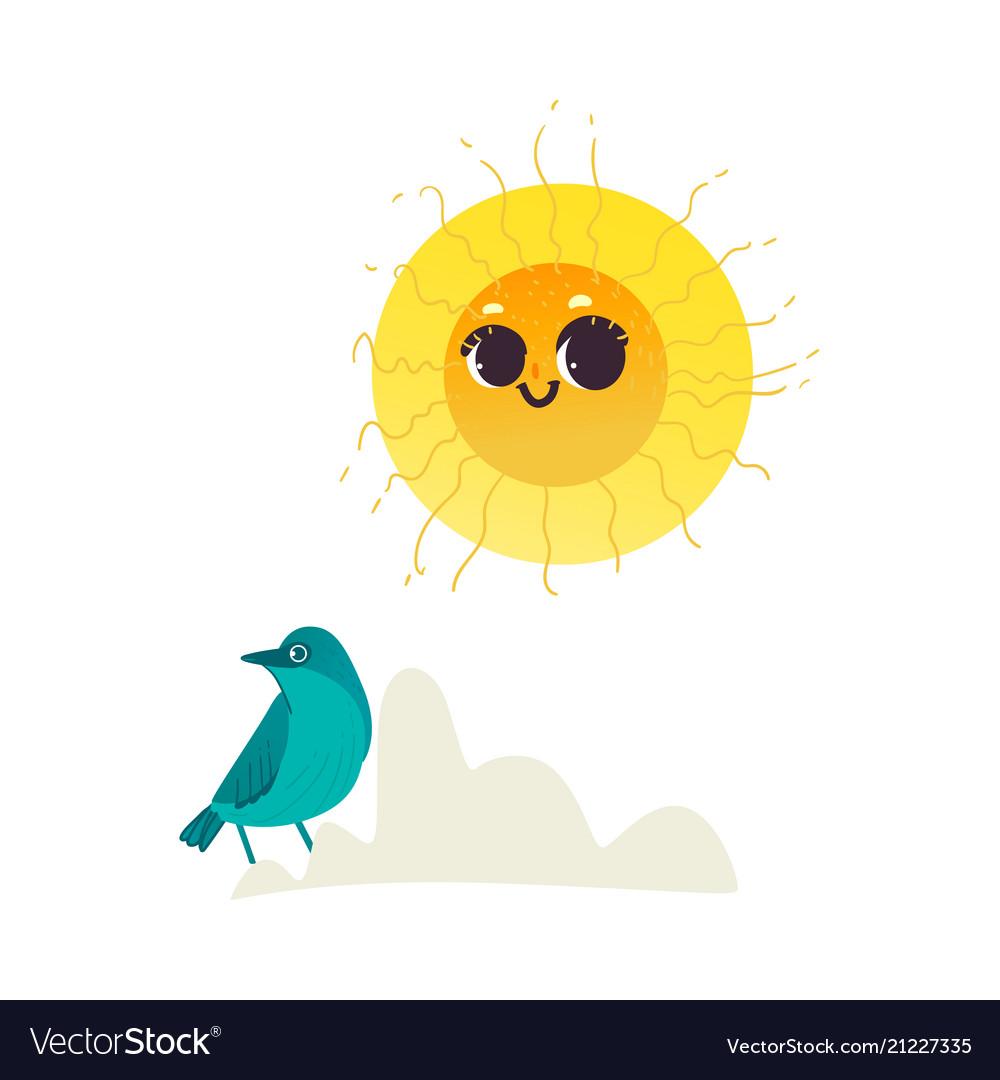 Flat hand drawn sun icon