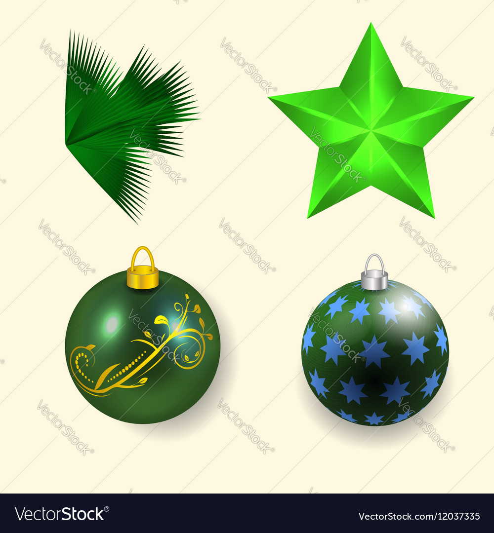 Four Christmas and New Year vector image