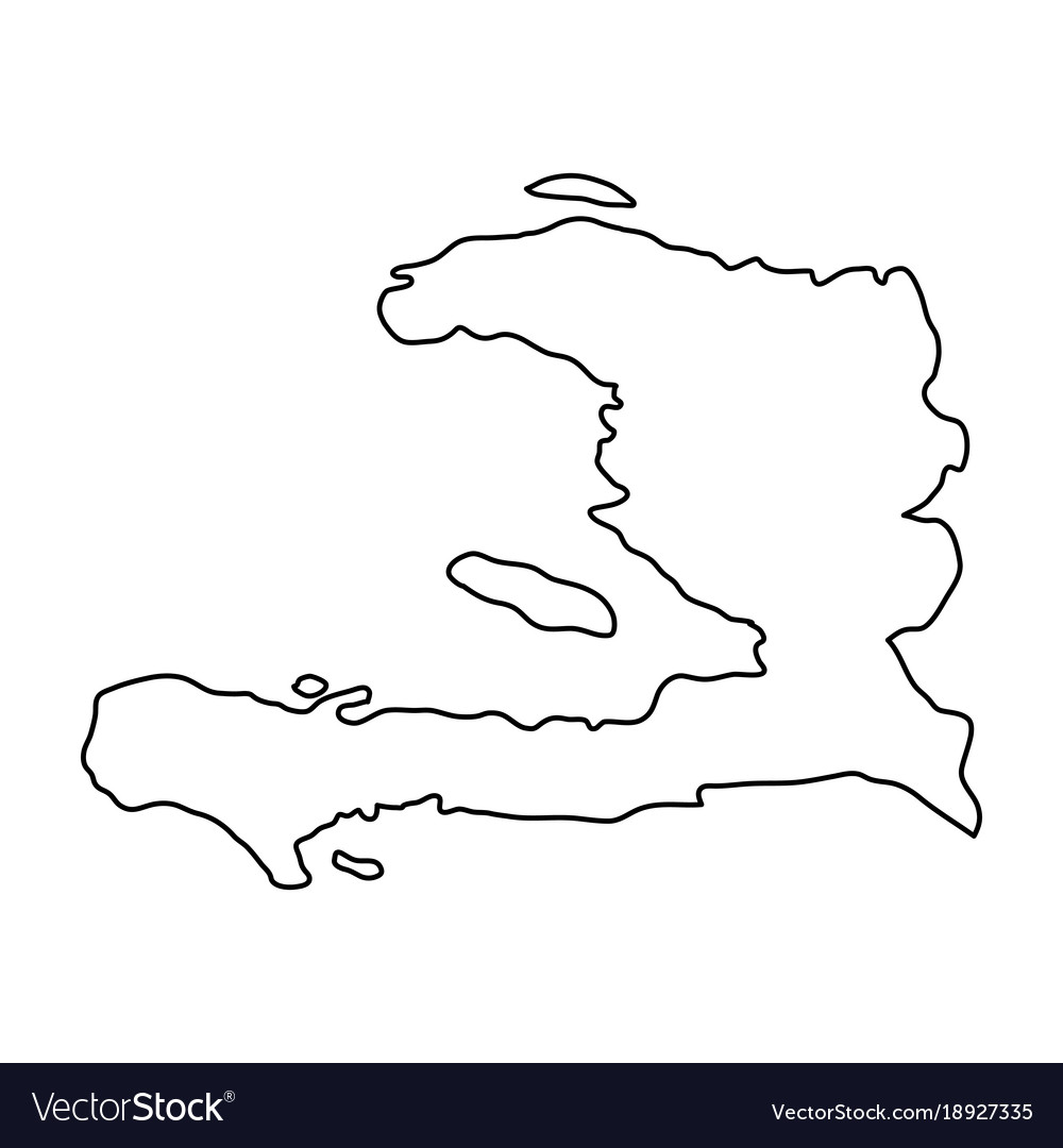 Haiti Map Outline Haiti map of black contour curves on white Vector Image