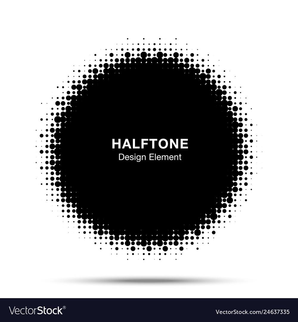 Halftone dots circle frame logo emblem design