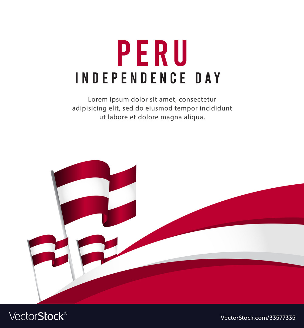 Happy Peru Independence Day Celebration Poster Vector Image