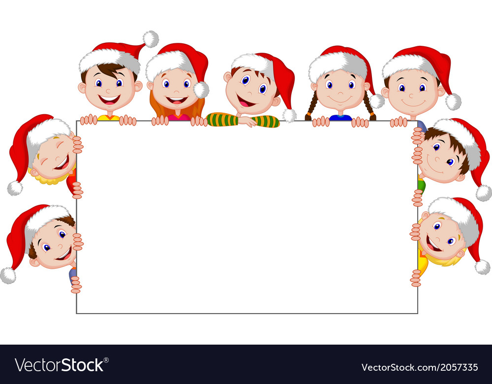Kids cartoon with a blank sign and christmas hats