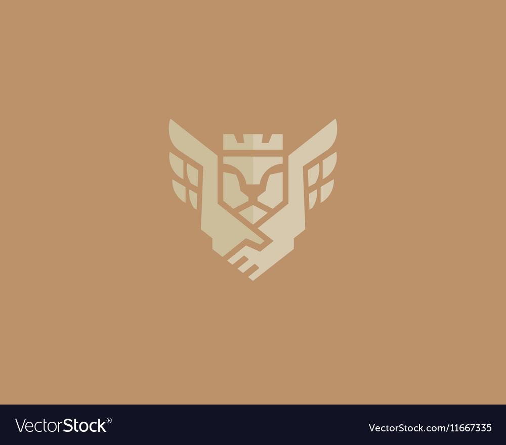 Lion king wings logotype Handshake crown